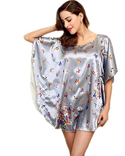 BigForest Femmes Short Batwing Sleeve Pyjama Satin Soie butterfly Peignoir robe set A Grey
