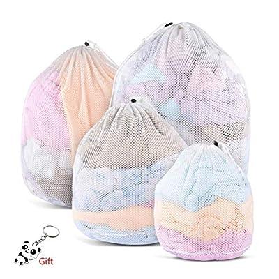 kuou 4 Pcs Drawstring Mesh Laundry Bag, 4 Sizes Durable Laundry Net Washing Bag for Washing Machine Travel, Delicates, Bra, Baby Cloths,Toy Storage