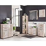 Komplett Badmöbel Set Findusschalung Waschbeckenschrank Spiegelschrank mit LED Beleuchtung...