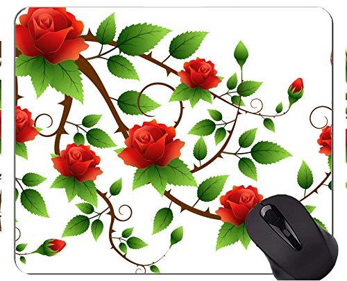 Rechteck-Mausunterlage, rote Kunst der Blätter - genähte Ränder