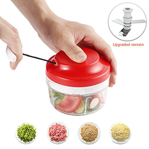 ICOCO Food Vegetable Chopper, Manual Mini Kitchen Food Processor With Hand Powered  Slicer 3