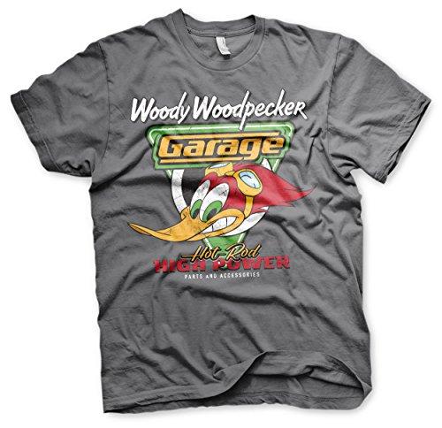 Woody Offizielles Lizenzprodukt Woodpecker Garage Herren T-Shirt (Dunkelgrau), Small (Shirt Woody Herren)