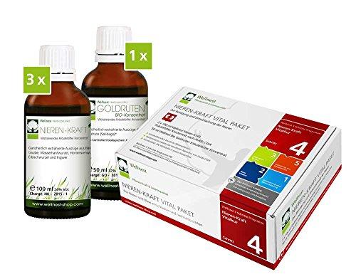 Wellnest Nieren-Kraft Detox-Kur-Paket (Entgiftungs-Kurpaket für 30 Tage Nierenreinigung nach Hulda Clark) - 100% pflanzlich - einfache Handhabung - sehr gut wirksam bei häufiger Blasenentzündung und Nierenbeschwerden