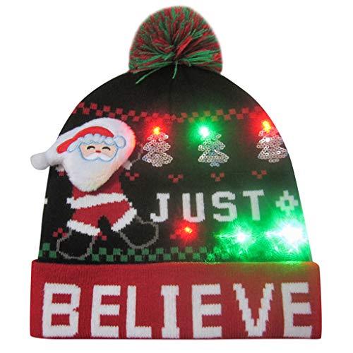 Sloater Halloween Hut Damen Weihnachtsmütze, Bunte Frohe Weihnacht LED Licht Oben Knit Hut Beanie Haarball Warme Kappen Geschenke Süß Klassisch Hütchen -