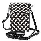 Sconosciuto Imbuto geometrico reticolo irregolare griglia piccola borsa a tracolla cellulare borsa a tracolla - donna in pelle PU borsa a mano con cinghia regolabile per la vita quotidiana