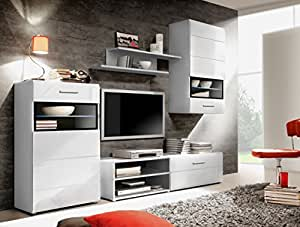 SLATE Meuble TV mural + LED 244 cm blanc brillant