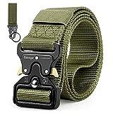 Bansga Cintura Militare Tattica per Uomo Heavy Duty Cintura Militare con Cintura Cintura in Nylon Resistente per Caccia Esecuzione di Esercizi Militari(Verde)