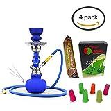 Soria.Premium (Pack 4) 1Cachimba 28cm + 1Sabor (sin nicotina) +10 Pastillas de Carbon + 6 Boquillas...