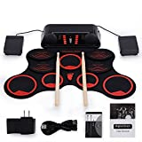 Roll-Up Drum Kit Portable Electronic Drum Set with Rechargeable Battery