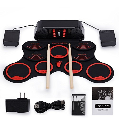 Roll-Up Drum Kit Portable Electronic Drum Set with Rechargeable Battery Foot Pedals Drumsticks Built...