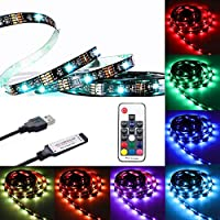 WOWLED USB RGB LED TV Backlight, 2M 6.6ft LED Strip Light Multi Color Bias Lighting, USB Powered with Wireless RF Remote Control for HDTV TV PC Monitor