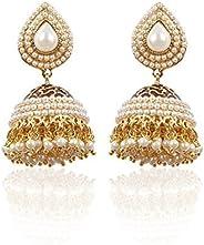 Shining Diva Pearl Studded Traditional Jhumka Earrings For Women(White)(6822er)