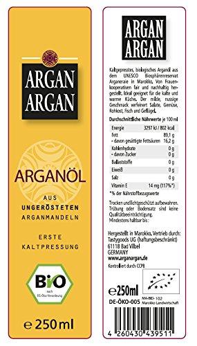 ARGANARGAN Bio-Arganöl 250ml, ungeröstet, kaltgepresst, auch für Haut- und Haarpflege geeignet - 2