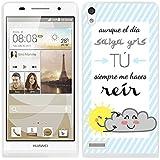 Funda carcasa TPU Gel para Huawei P6 diseño ilustración frase aunque el día salga gris tú me haces reír borde blanco
