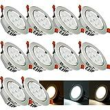 VINGO® 3-in-1 LED Einbaustrahler SceneSwitch ersetzt 60W, Energiesparend, 10er-Pack 7W Einbauleuchte, Farbtemperatur kann eingestellt ohne wechseln Leuchtmittel