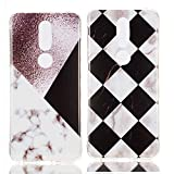 YKTO Custodia Nokia 7.1 2018 5.84 Pollici Marmo Colorate Effetto Cover Ultra Sottile Morbida Silicone Case Brillantini [2 Pack] Belle Anti Scivolo Antiurto Colore Caso Posteriore Quadrilatero