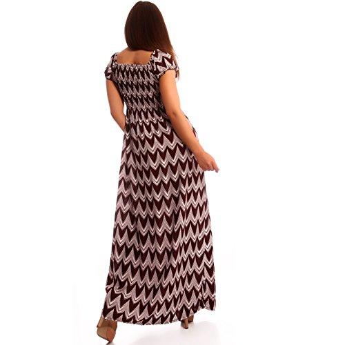 Damen Maxikleid Carmen Ausschnitt Kleid Lang Bordeaux Car Wash