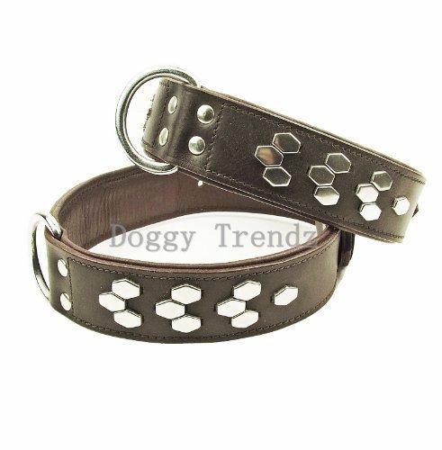 Artikelbild: Avon Pet Products Sechseck chrom Nieten Leder Hundehalsband, 22, braun