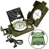 Militär Marschkompass, Kompass mit Tasche, für Wanderung, Camping, Klettern, Rad fahren, Armeegrün