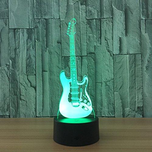 3D Illusion Nachtlichter, Gitarre Moderne LED-Tisch Schreibtischlampen 7 Farben ändern Touch-Schalter USB-Lade Beleuchtung Schlafzimmer Home dekorative Lampe, Geburtstag Weihnachten Kids Ad beste Kreativität Geschenk