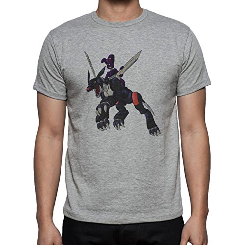 Digimon Garurumon Wolf Gabumon Black Metal Herren T-Shirt Grau