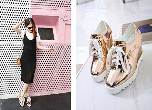 Onfly Pumps Keilabsätze Lässige Schuhe Dame Einfach Mode Leder Schnürsenkel Dicke Plattform Muffins Schuhe Eu Größe 35-40 rose gold