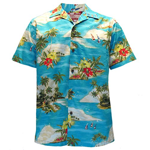 Robert J. Clancey Mens Clancey Classic Authentic Coconut & Palm Turquoise Hawaiian Shirt S-2XL