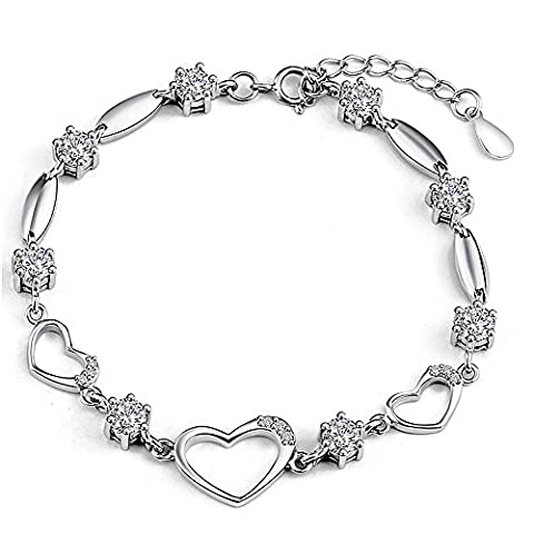 Rarelove Platinum White Gold Plated Sterling Silver 925 Bracelet Women Cz Crystal Heart Shape for her Fashion Girl Hand Chain authentic Jewelry Accessory for