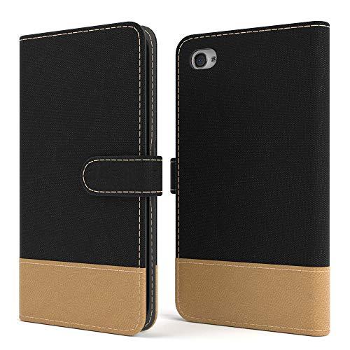 EAZY CASE Tasche für Apple iPhone 4 / 4S Stoff Schutzhülle mit Standfunktion Klapphülle im Bookstyle, Handytasche Handyhülle Flip Cover mit Magnetverschluss und Kartenfach, Kunstleder, Schwarz