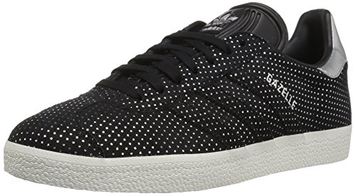adidas Originals Women's Gazelle W Sneaker Black/Silver Metallic, 9.5 M US
