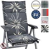 Beautissu Hochlehner Auflage für Gartenstuhl Loft HL Flower 120x50x6cm Bequemes Sitzkissen - Polsterauflage UV-Lichtecht