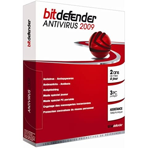 Editions Profil BitDefender Antivirus 2009, 2 ans, 3 PC, FR - Seguridad y antivirus (2 ans, 3 PC, FR, 3 usuario(s), 210 MB, 256 MB, 800 MHz, Windows XP SP2, Vista SP1, Home Server, ENG)