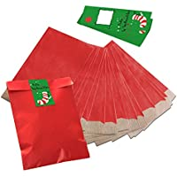 10 bolsas pequeñas bolsas de papel Plano rojas 17,5 x 21,5 cm + 10 Verde Blanco Rojo Feliz Navidad calcetín Moldes Pegatinas (5 x 15 cm) bolsas de regalo ...