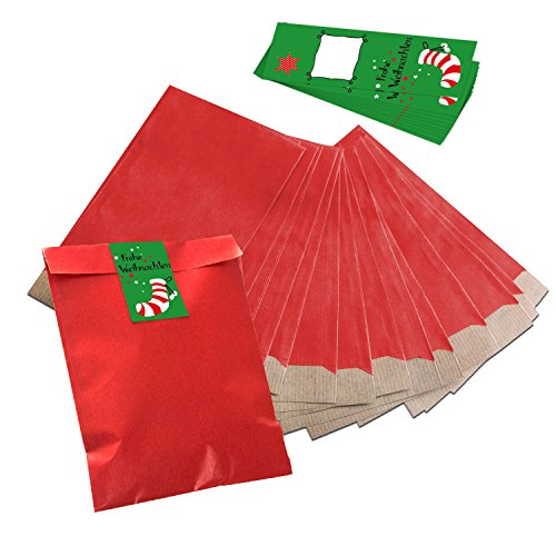 25 kleine rote Papiertüten Flachbeutel 17,5 x 21,5 cm + 25 grün rot weiße FROHE WEIHNACHTEN Strumpf Banderolen Aufkleber (5 x 15 cm) Geschenktüten Tüten Mitgebsel give-away Verpackung