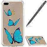 iPhone 7 Plus Hülle,iPhone 8 Plus Handyhülle Silikon,WIWJ Passgenau Kratzfest Hülle Schutzhülle Soft Silikon Case Handy Hülle Case Schutzhülle für iPhone 7 Plus/iPhone 8 Plus-Drei blaue Schmetterlinge