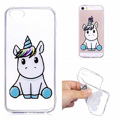 Gzxixi cover trasparente per iphone 5/5s/se custodia in silicone flessibile cover sottile leggero cassa antiurto antigraffio con modello: unicorno