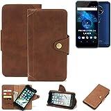 K-S-Trade Handy Hülle für Allview X4 Soul Vision Schutzhülle Walletcase Bookstyle Tasche Handyhülle Schutz Case Handytasche Wallet Flipcase Cover PU Braun (1x)