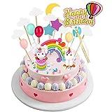 Joyoldelf Décoration de gâteau licorne pour gâteau d'anniversaire avec ballons arc-en-ciel nuages étoiles lune Idéal pour les enfants filles fête prénatale mariage