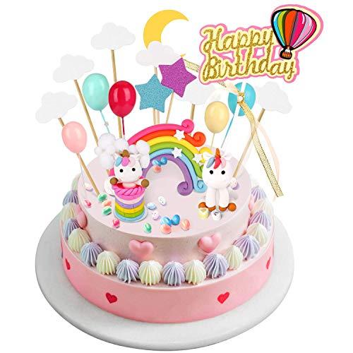 Joyoldelf - Decoración para tarta con diseño de unicornio, decoración para tarta de cumpleaños con globos de arcoíris, nubes, estrella, luna, ideal para fiestas de niños, baby shower, bodas