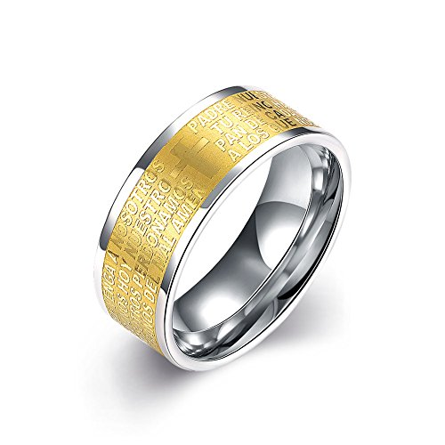 CARTER PAUL Herren Edelstahl Kreuz Stich Wörter 18K Vergoldung Ring, Größe 62 (19.7)