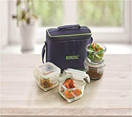 Borosil Klip and Store Glass Lunch Box (Blue) - Set of 4