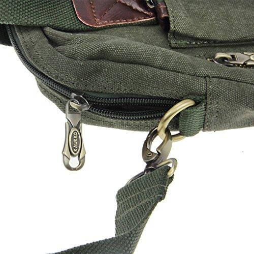FakeFace Herren Satchel Schultasche Umhängetasche aus Canvas Segeltuch Schultertasche Messenger Bag Cross-Body Tasche für iPad Tablett 32 x 31 x 10 CM (Khaki) Armee Grün 1