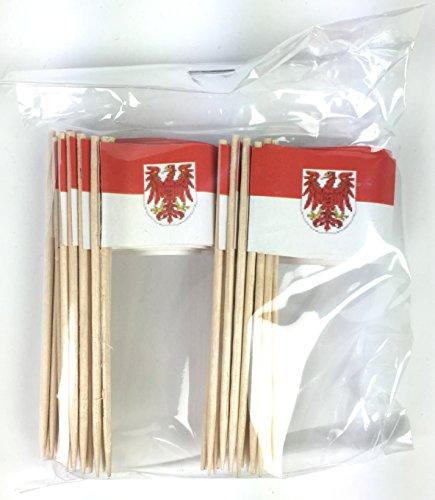 2te Wahl Party-Picker Flagge Brandenburg Papierfähnchen in Profiqualität 50 Stück Beutel Offsetdruck Riesenauswahl aus eigener Herstellung
