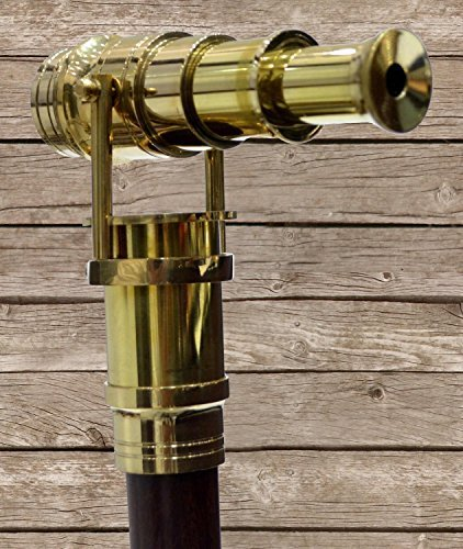 historicalmuseumstore Wood Cane Telescope Walking Stick Hidden Spy Brass Handle Black by historicalmuseumstore