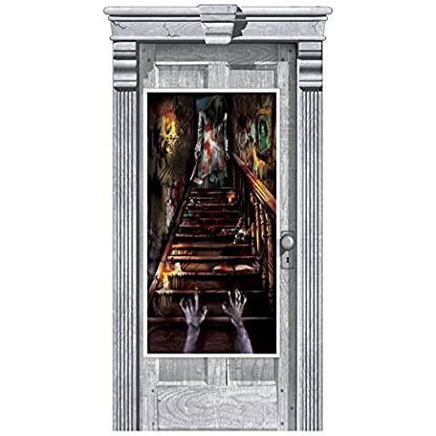 Gothic Halloween HAUNTED HOUSE Mansion SCARE STAIRS Party Door Banner Decoration