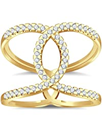 Silvernshine Halo Twist CZ Diamonds Engagement Ring 14k Yellow Gold Plated Bridal Ring Set