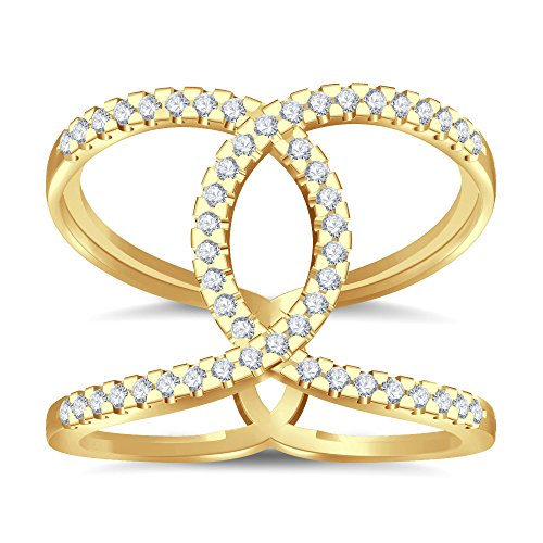 Silvernshine Halo Twist CZ Diamonds Engagement Ring 14k Yellow Gold Plated Bridal Ring Set