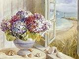 Artland Qualitätsbilder I Bild auf Leinwand Leinwandbilder Danhui Nai Küsten Hortensie Stillleben Arrangements Botanik Malerei Blau B2RV