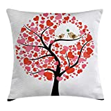 VYPHN Animal Throw Pillow Cushion Cover, Birds in Tree Flirting Greeting in The Nature Romance Relationship Season Print, Decorative Square Accent Pillow Case, 18 X 18 inches, Red White Black