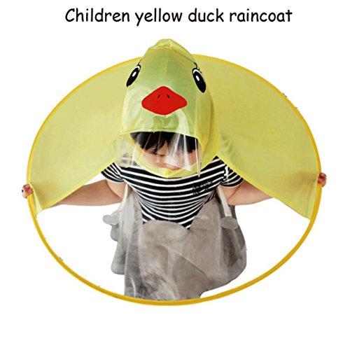SO-buts Jungen und Mädchen Universal Regenmantel/niedlichen Regenmantel/UFO Kinder Regenschirm Kappe/Magie Hand frei Regenmantel/kleine gelbe Ente Regenmantel (S)